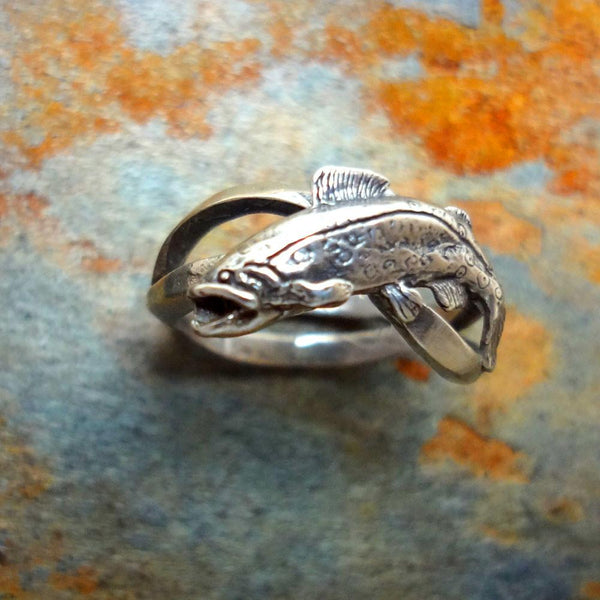 Trout Wave Ring handmade in Sterling or 14k Gold by All Animal Jewelry