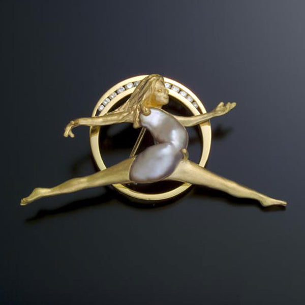 Volier Ballerina brooch, pin Biwa Pearl 18k Gold Diamonds USA handmade