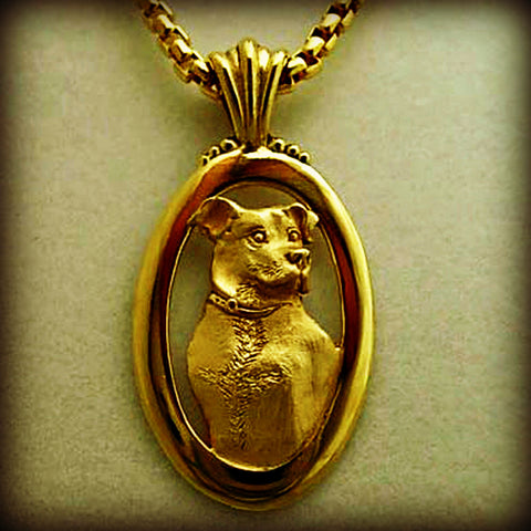 Dog and animal jewelry in 14k gold or sterling silver.  Memorial DIY pet portraits from your photo in a pendant, charm or ring handmade by Tosa Fine Jewelry