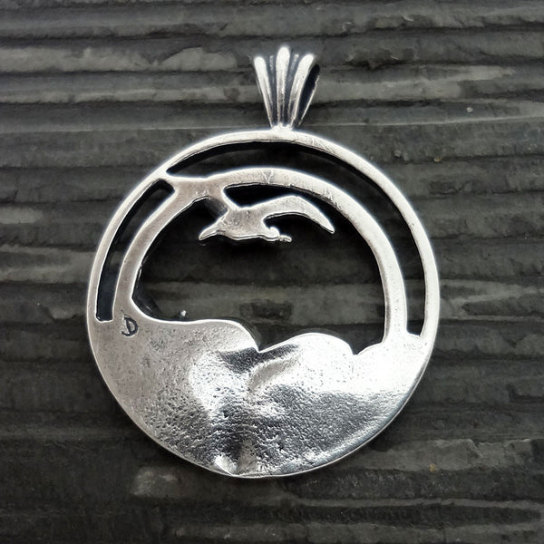 Seagull Sunset Wave Pendant handmade in Sterling or 14k gold by Tosa Fine Jewelry