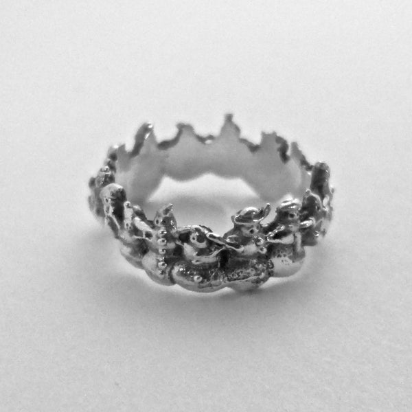 Flakes the Snowman Ring - Handmade in Sterling Silver or 14k Gold - Wholesale