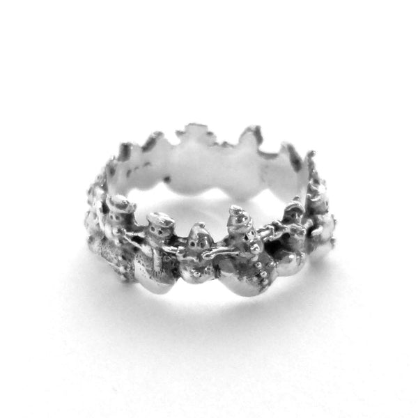Flakes the Snowman Ring - Handmade in Sterling Silver or 14k Gold