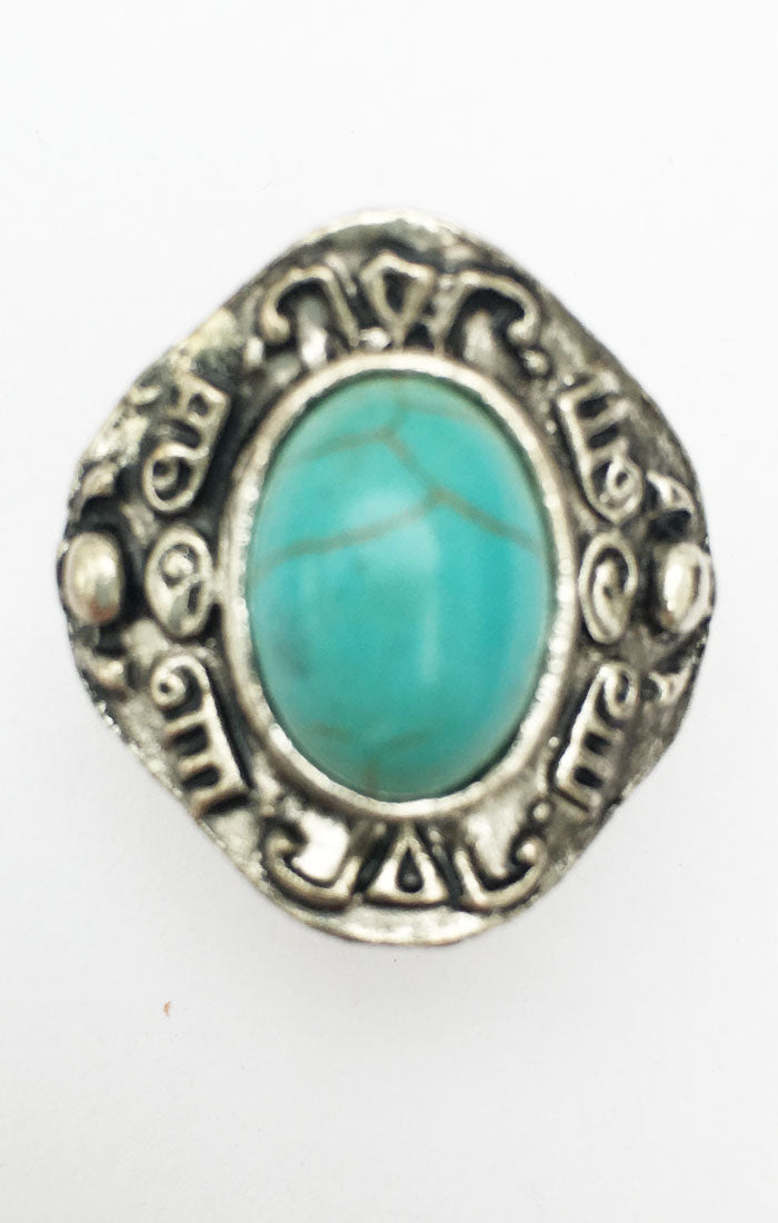 Mykonos Turquoise Ring - Silver