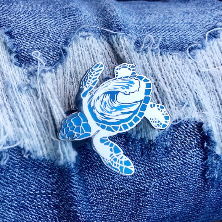 Sea Turtle Hatchling Wave Enamel Pin