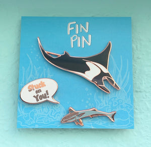 Stuck on You! Manta ray & remora pin set