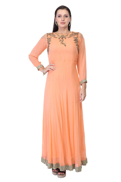 Light peach cotton and silk Party Gown