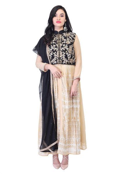 Dark blue- gold cotton and Silk Anarkali