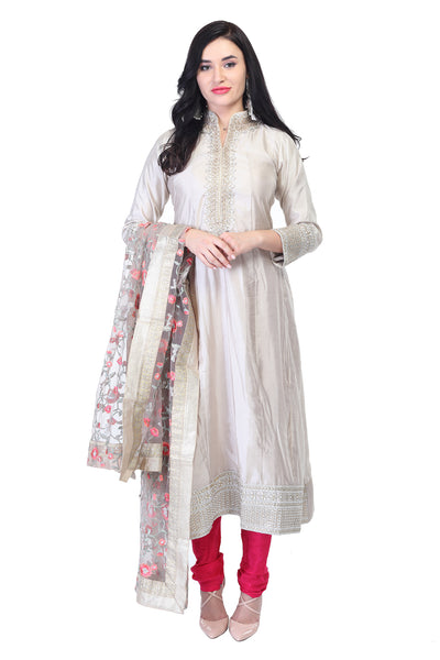Lace and embroided silver white cotton kurta
