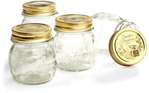 Bormioli Rocco Quattro Stagioni 8-1/2-Ounce 4-Piece Canning Jar Set, Gift Boxed