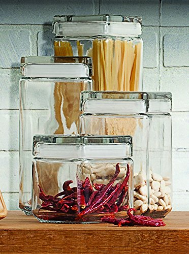 Anchor Hocking 1-Quart Stackable Jars with Glass Lids, Set of 4