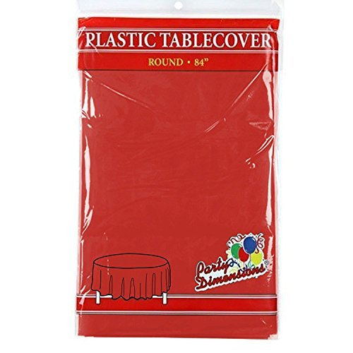 "Red Round Plastic Tablecloth - 4 Pack - Premium Quality Disposable Party Table Covers for Parties and Events - 84"" - By Party Dimensions"