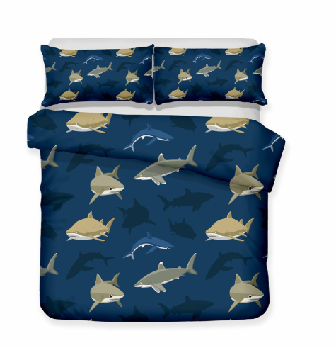 3D Bedding Set Shark Print Duvet Cover Set Lifelike Bedclothes with Pillowcase