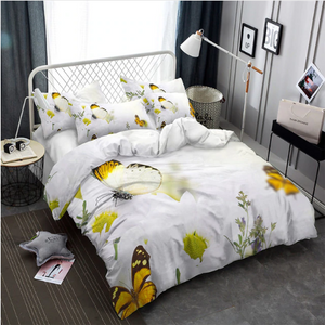 3D Bedding Set Flowers butterflies Print Duvet cover set bedclothes with pillowcase - ( 7 Styles )