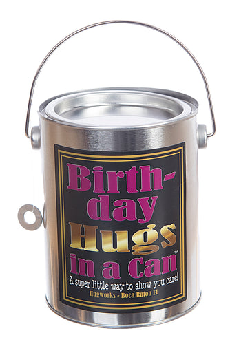 Happy Birthday Teddy Bear Hugs in a Can, send a Birthday greeting of Hugs.