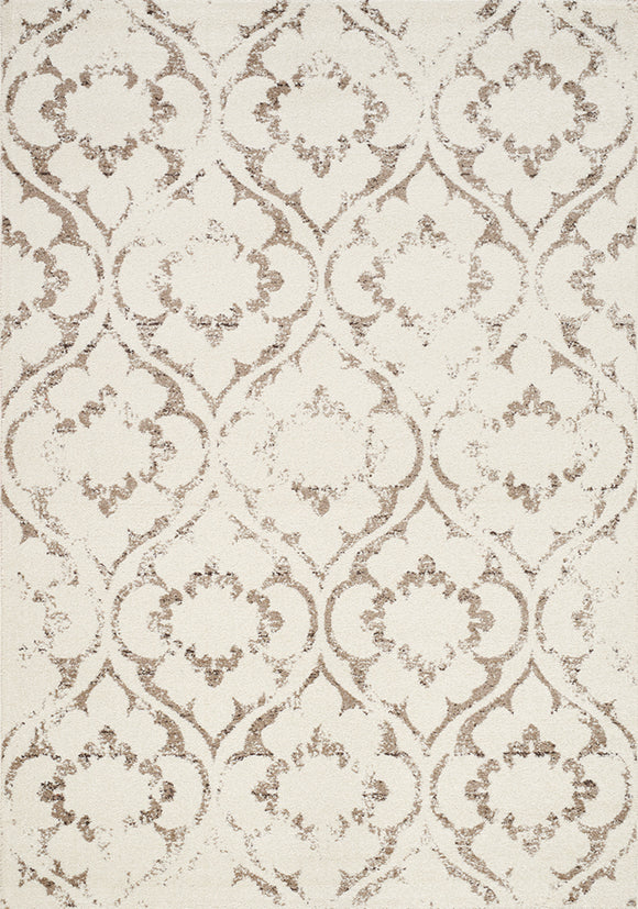 Camino Cream, Taupe Ogee Flowers Rug