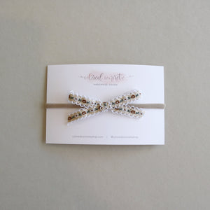 Petite Bow // Cream & Brown Floral
