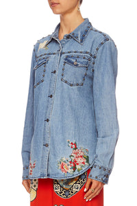 MS MAIKO STUDDED DENIM SHIRT