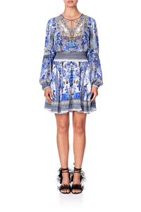 SHIRRED RELAXED SHORT DRESS PAINTED PROVINCIAL