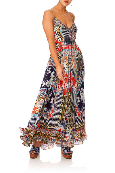 CAMILLA THE LONELY WILD LONG DRESS W TIE FRONT