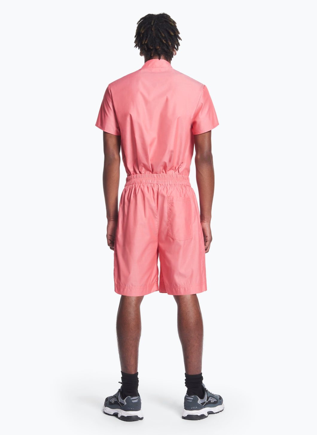 Bermuda Shorts with Stitched Waist in Pink Poplin