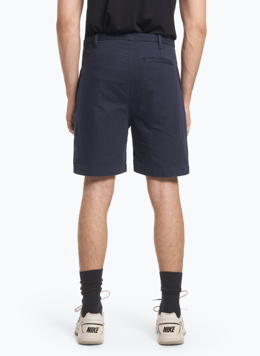 Bermuda Shorts with Notched Pockets in Navy Blue Denim