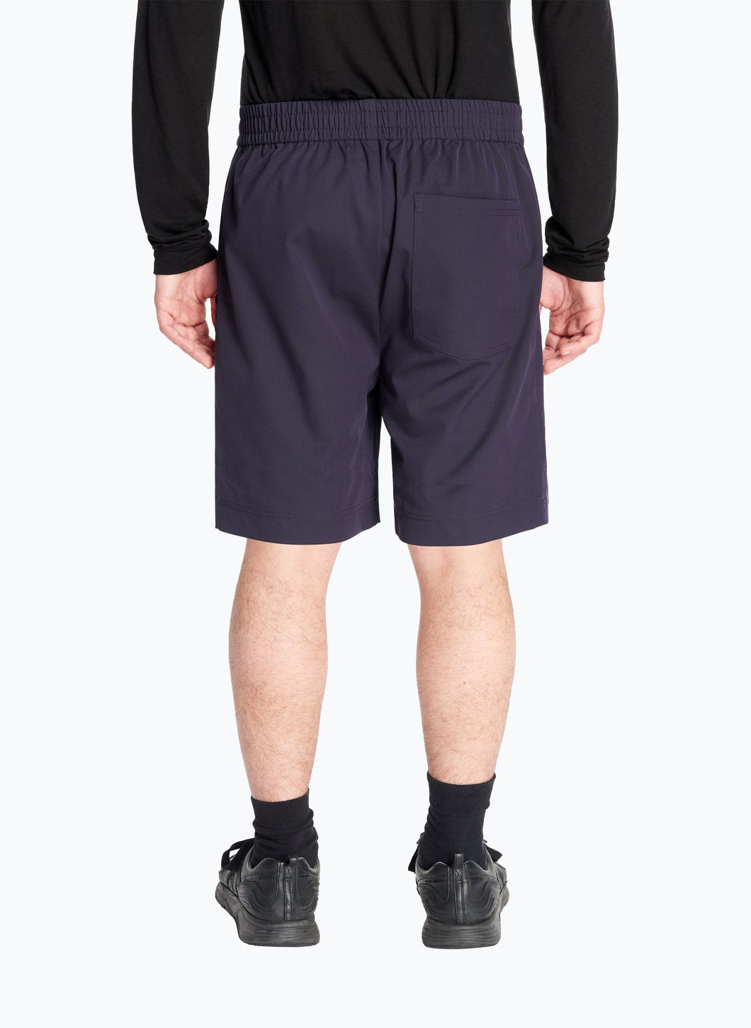 Bermuda Shorts with Stitched Waist in Navy Blue Technical Fabric