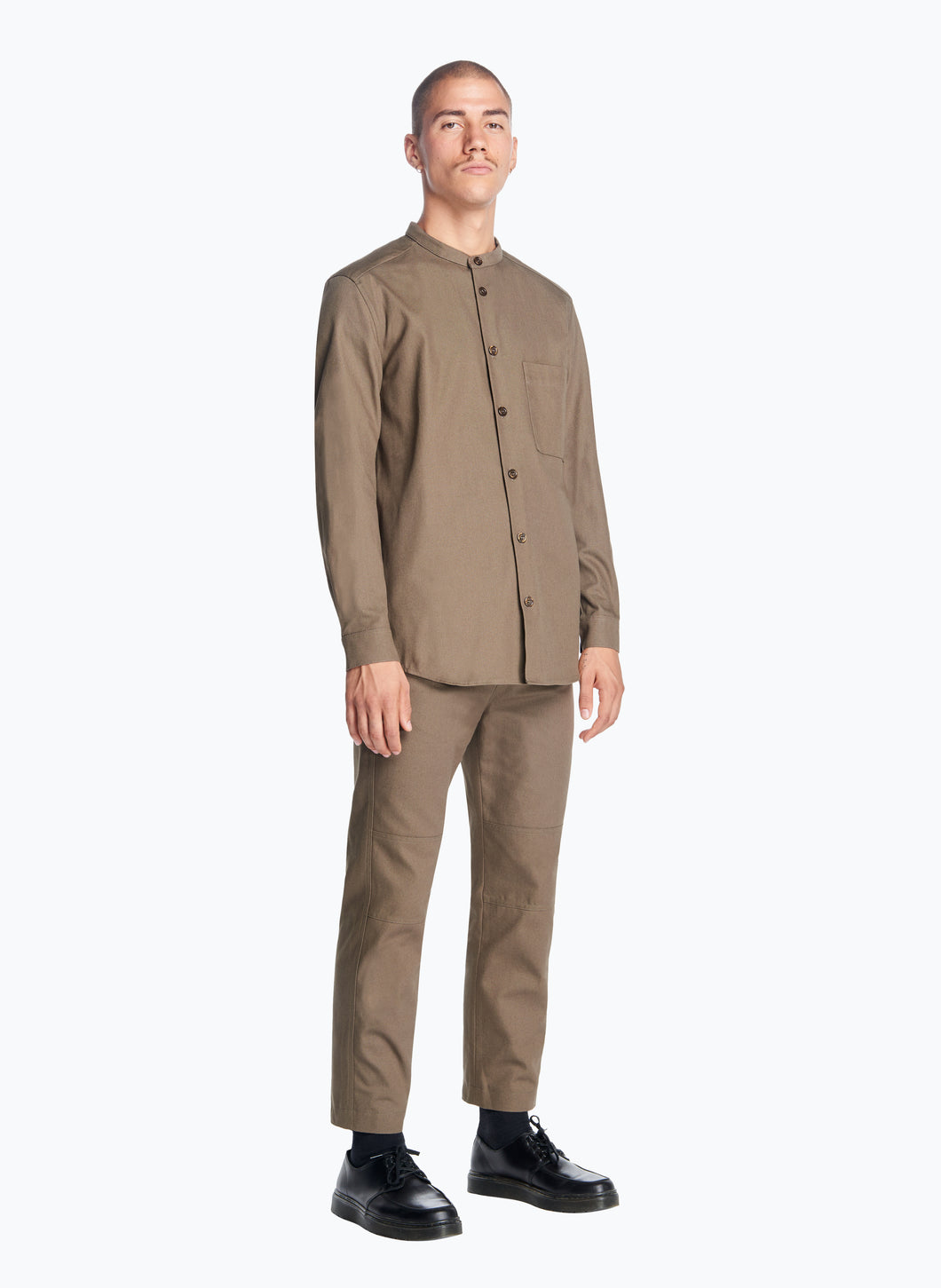 Mandarin Collar Overshirt in Olive Canvas