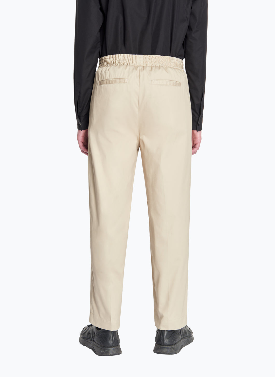 Pants with Large Elastic Waist in Beige Gabardine