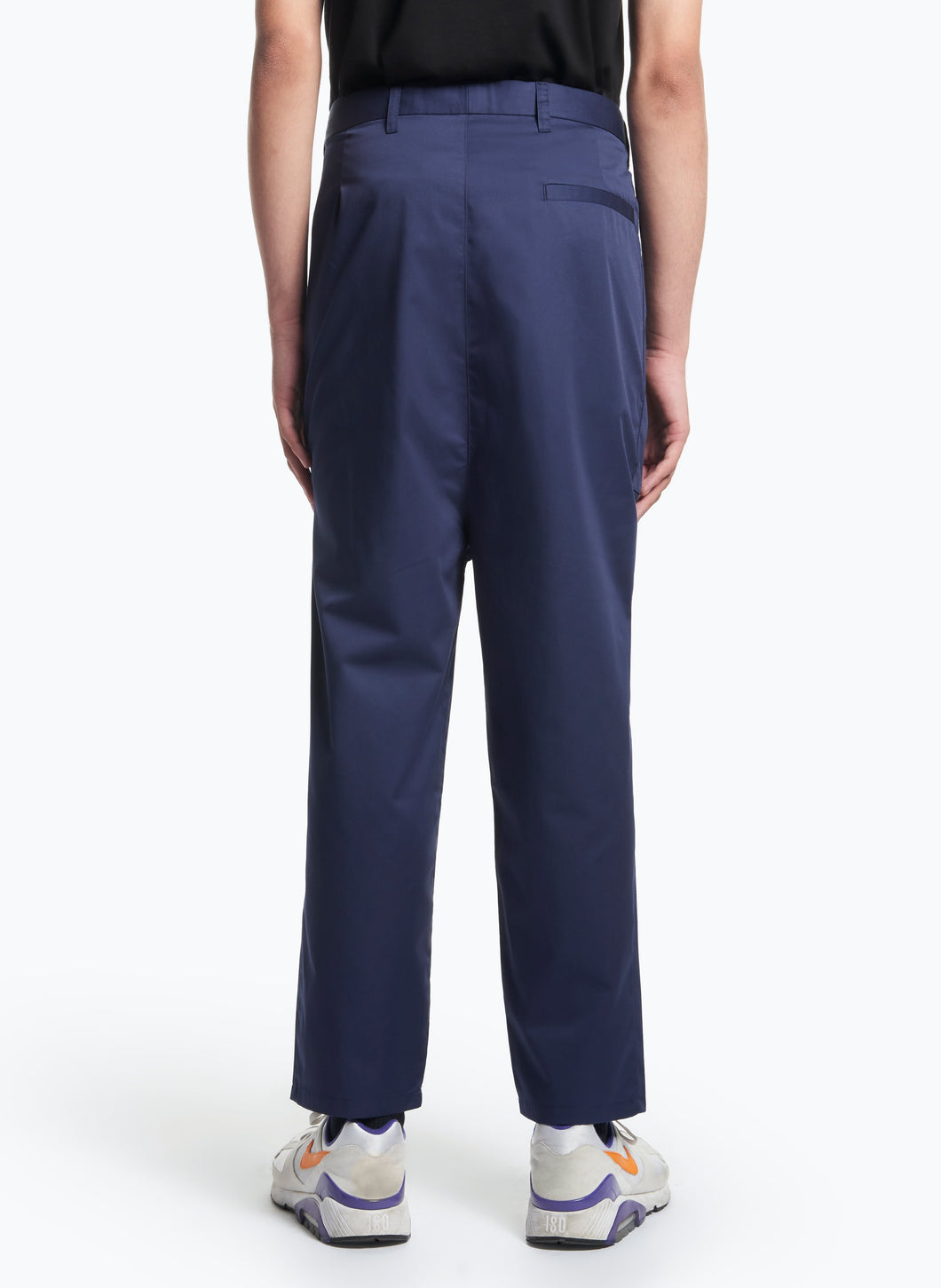 Pants with Pleated Patch Pockets in Navy Blue Pima Cotton