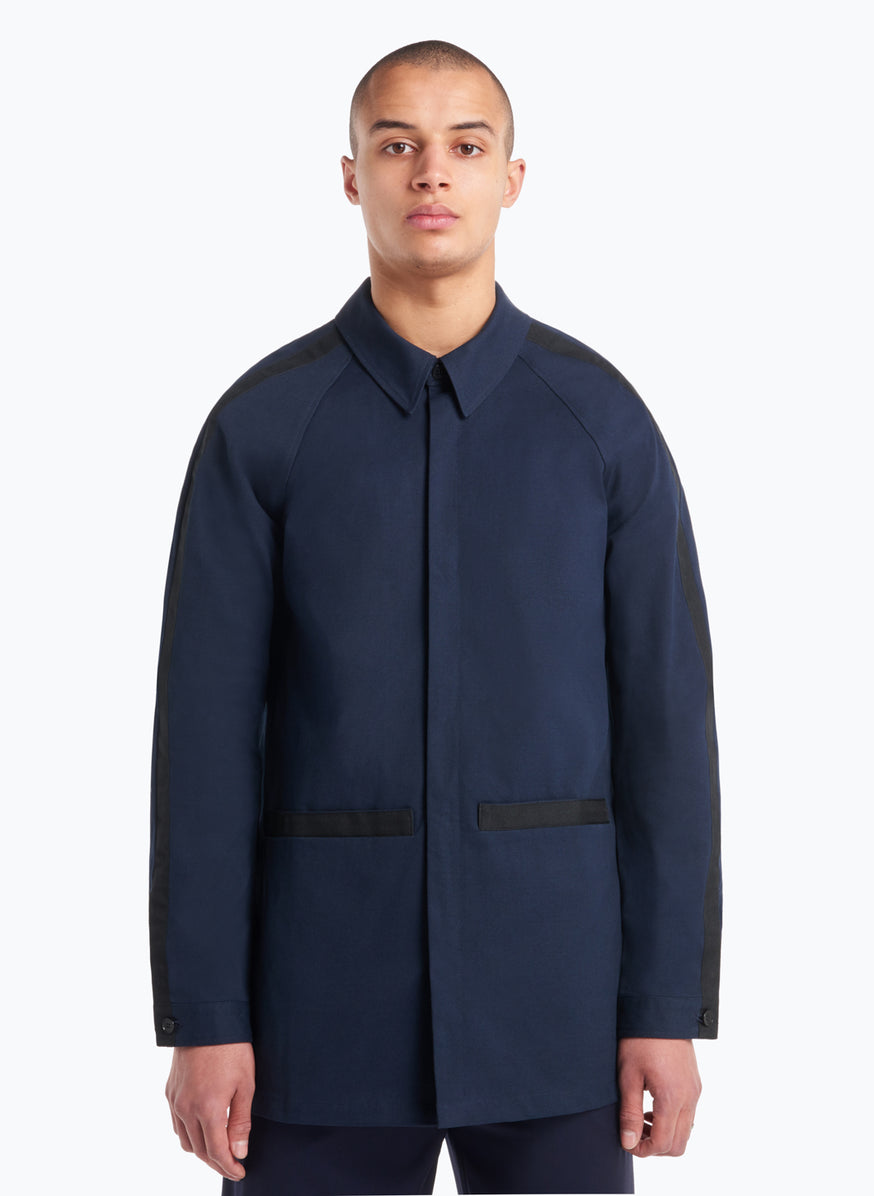 Overshirt with Black Trims in Navy Gabardine