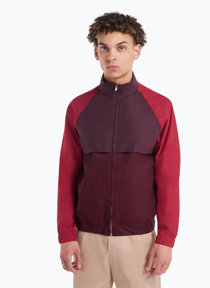 Funnel Neck Bomber Jacket in Burgundy and Red Poplin