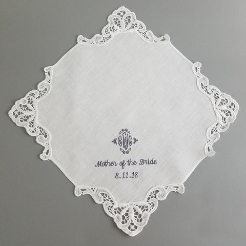 Embroidered Linen Handkerchief Venice Lace