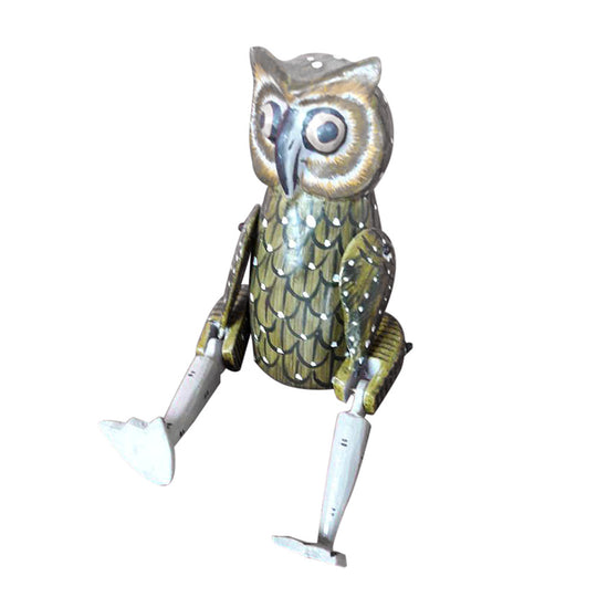 OWL PUPPET, GREEN,PAINTED, 10