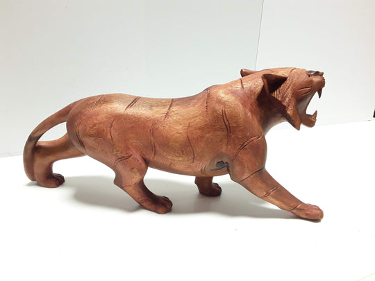 "TIGER, HAND CARVED, 20"" LONG, NATURAL WOOD FINISH"