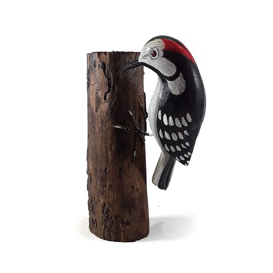 "WOODPECKER ON A BRANCH, PAINTED, 7"" TALL"