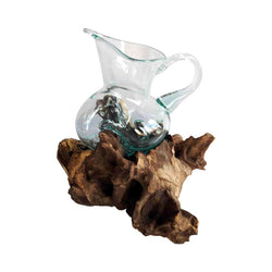 BLOWN GLASS PITCHER ON DRIFTWOOD BASE 5
