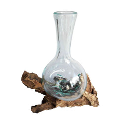 BLOWN GLASS VASE ON DRIFTWOOD BASE, ROUND BOTTOM, APPROX. 7