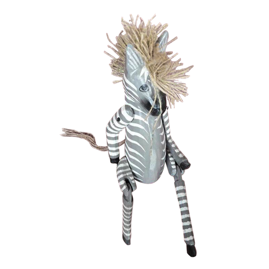 ZEBRA PUPPET, PAINTED, 14""