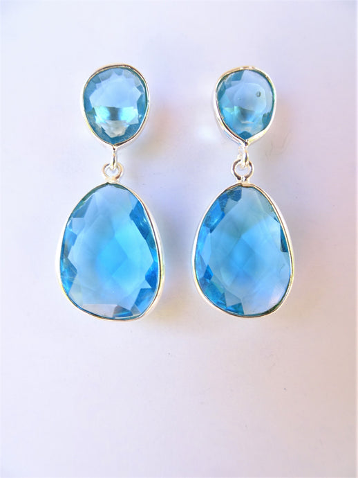 Blue Topaz Double Drop Earrings