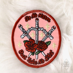 "Moon Goddess Market Original Do No Harm But Take No Sh*t Patch! 3"" Iron on patch - Moon Goddess Market"