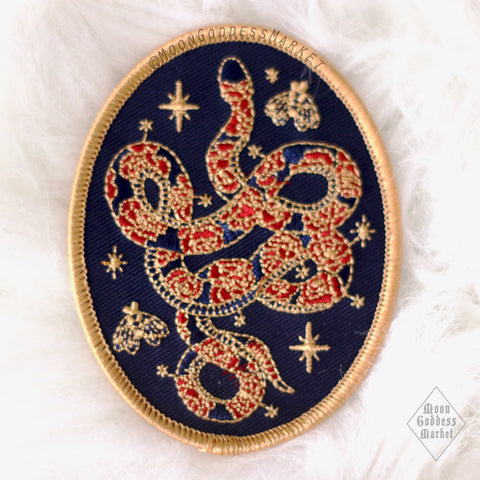 "Moon Goddess Market Original Celestial Snake and Moths Patch! 3"" Iron on patch - Moon Goddess Market"