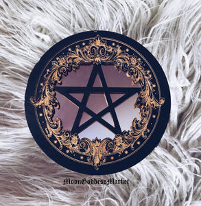"7"" Black Pentacle Mirror by Moon Goddess Market"