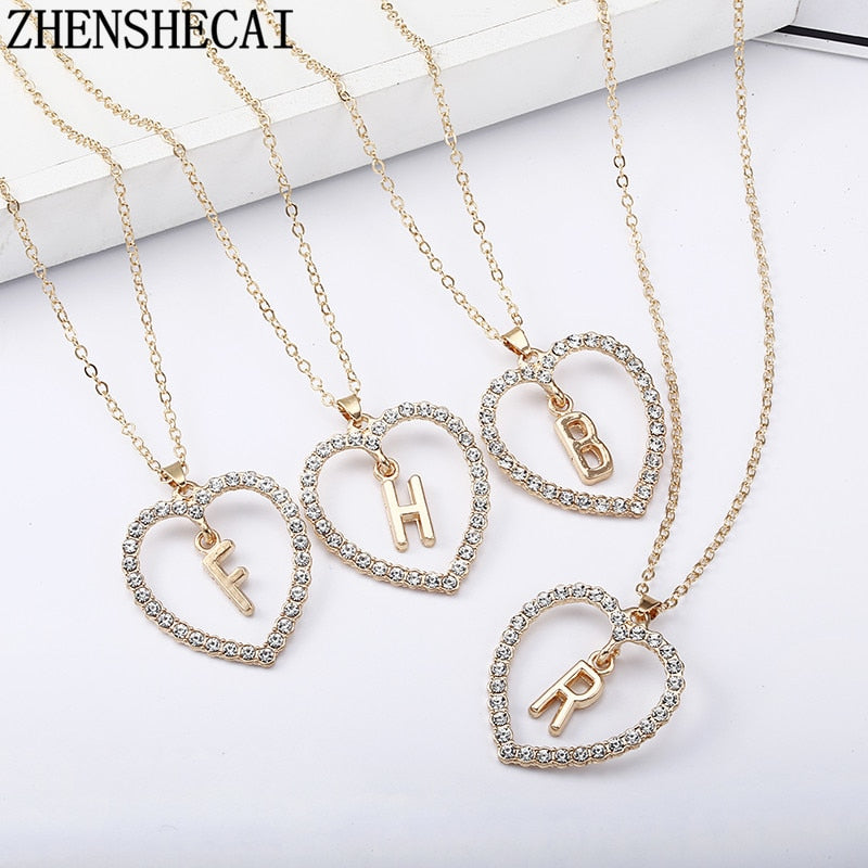 2018 Simple gold Color love heart necklaces & pendants double Rhinestone choker necklace women statement jewelry Bijoux x1