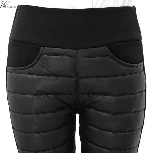 Thicken down Cotton Winter Warm Pants Women Elastic Waist Ladies Skinny Trousers Women's Casual Leggings Outwear Female Pants
