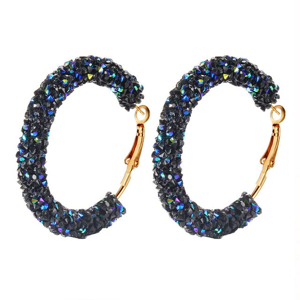 Mossovy Brand New Design Charm Earrings Geometric Round Shiny Austrian Crystal Rhinestone Big Earring Fashion Jewelry Women