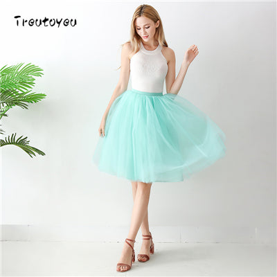5 Layers 65cm Sexy Midi Tulle Skirt Streetwear Pleated Skirts Womens Short Tutu Femme 2018 Winter Gothic Jupe Falda Tul Plisada