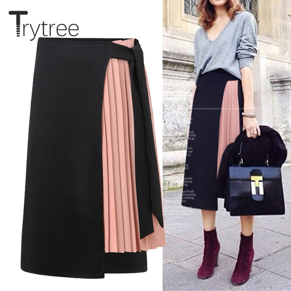 Trytree  Spring summer women skirt Casual Polyester Chiffon Asymmetry High waist zipper skirt Fashion streetwear long skirts
