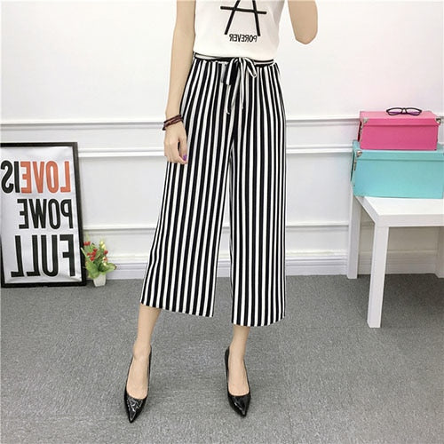 ZADORIN 2019 Top Fashion Summer Wide Leg Pants Women High Waist Plaid Striped Loose Palazzo Pants Elegant Office Ladies Trousers