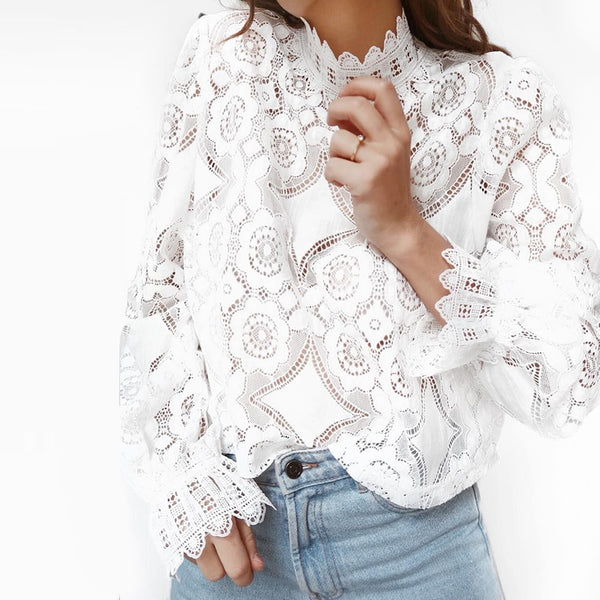 2019 fashion Summer White Lace Blouse Shirt Women High Street Petal Sleeve Blouses Female Casual Long Sleeve Tops