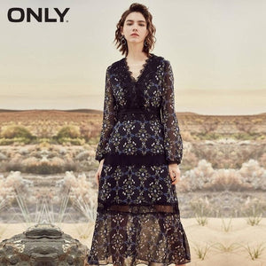 ONLY  Autumn V neckline Lace Splice Cinched puff sleeves Chiffon Floral Dress |118107638